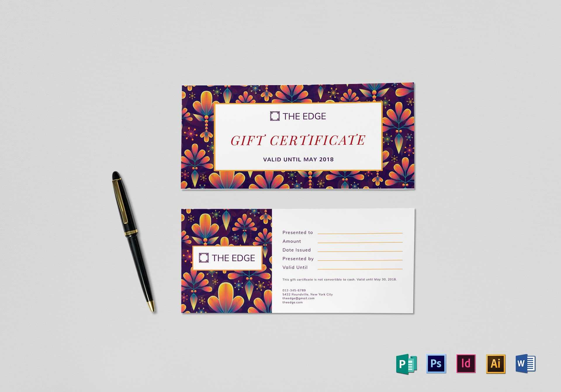 Gift Certificate Template with Gift Certificate Template Indesign