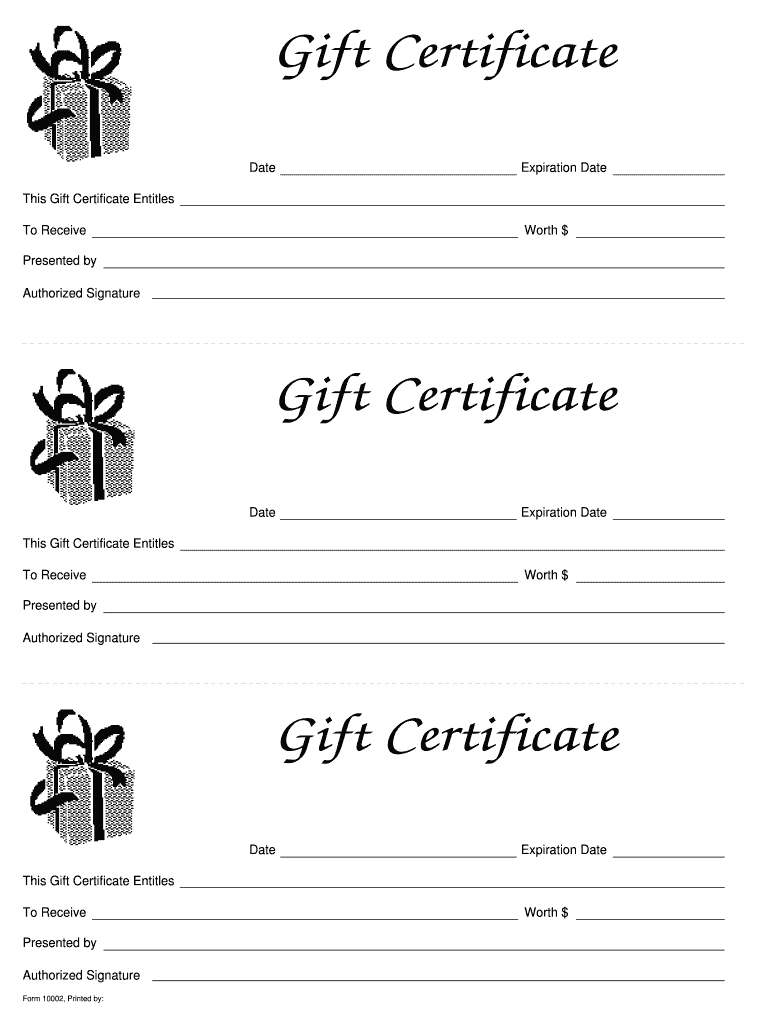 Gift Certificate Templates Printable - Fill Online For Fillable Gift Certificate Template Free