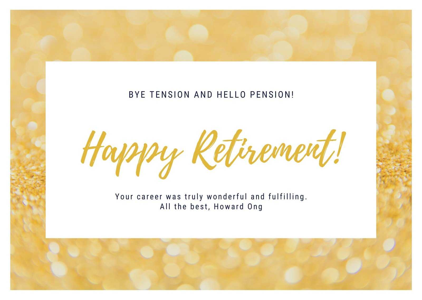 Gold And White Retirement Card - Templatescanva Pertaining To Retirement Card Template