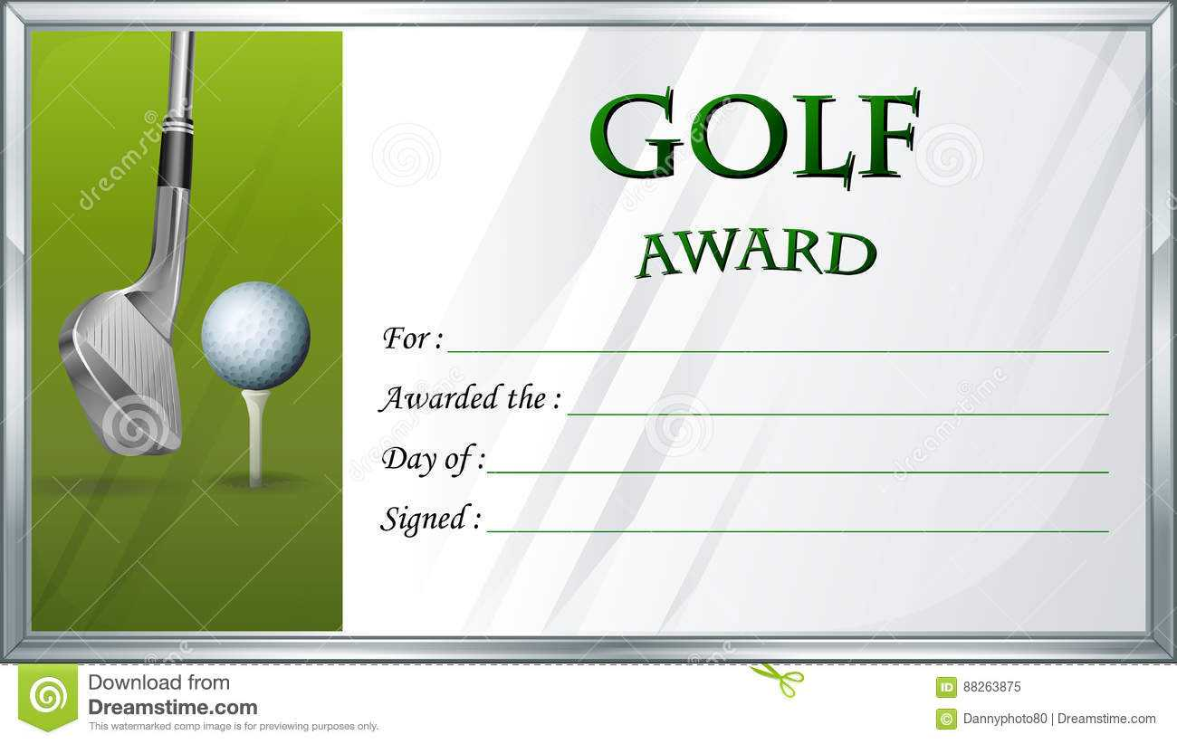 Golf Award Template With Golf Ball In Background Stock Within Golf Gift Certificate Template