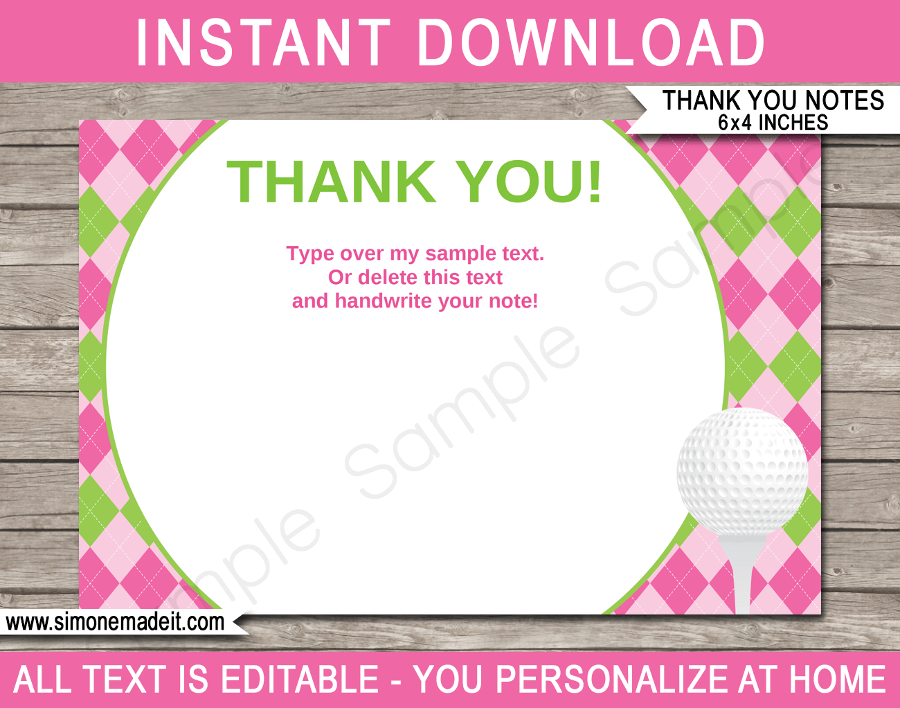 Golf Birthday Party Thank You Cards Template – Pink/green For Thank You Note Cards Template