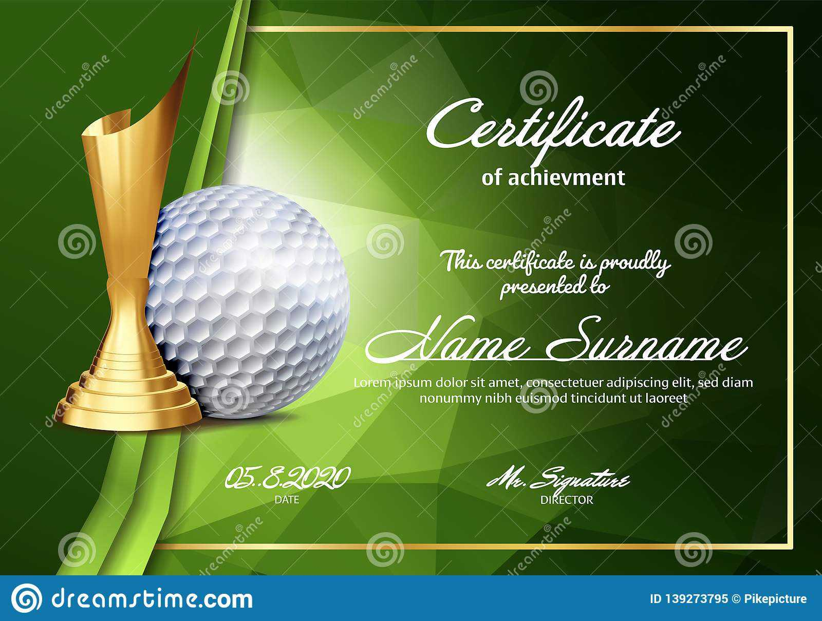 Golf Certificate Diploma With Golden Cup Vector. Sport With Regard To Golf Gift Certificate Template