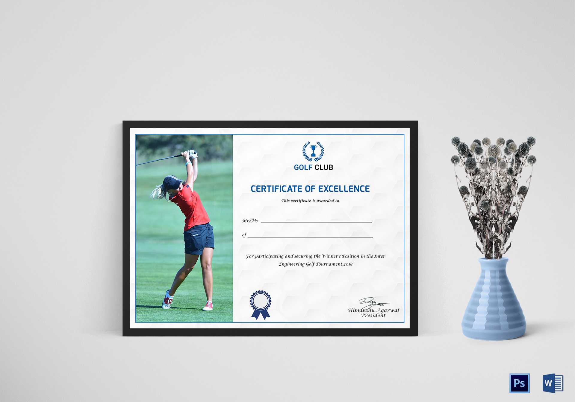 Golf Excellence Certificate Template Intended For Golf Certificate Templates For Word