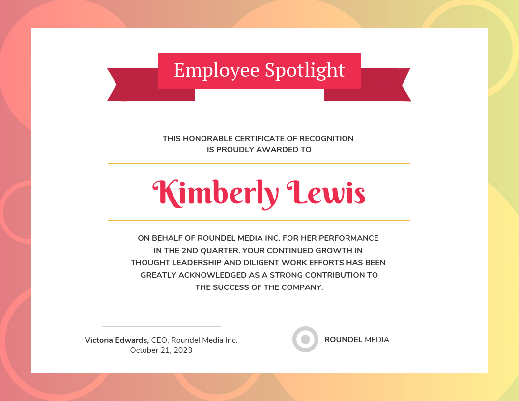 Gradient Employee Recognition Certificate Template In Leadership Award Certificate Template