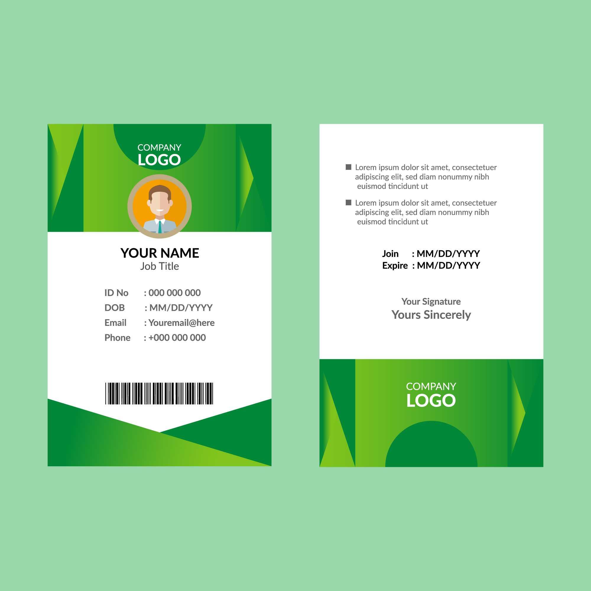 Green Id Card Template - Download Free Vectors, Clipart Regarding Shield Id Card Template