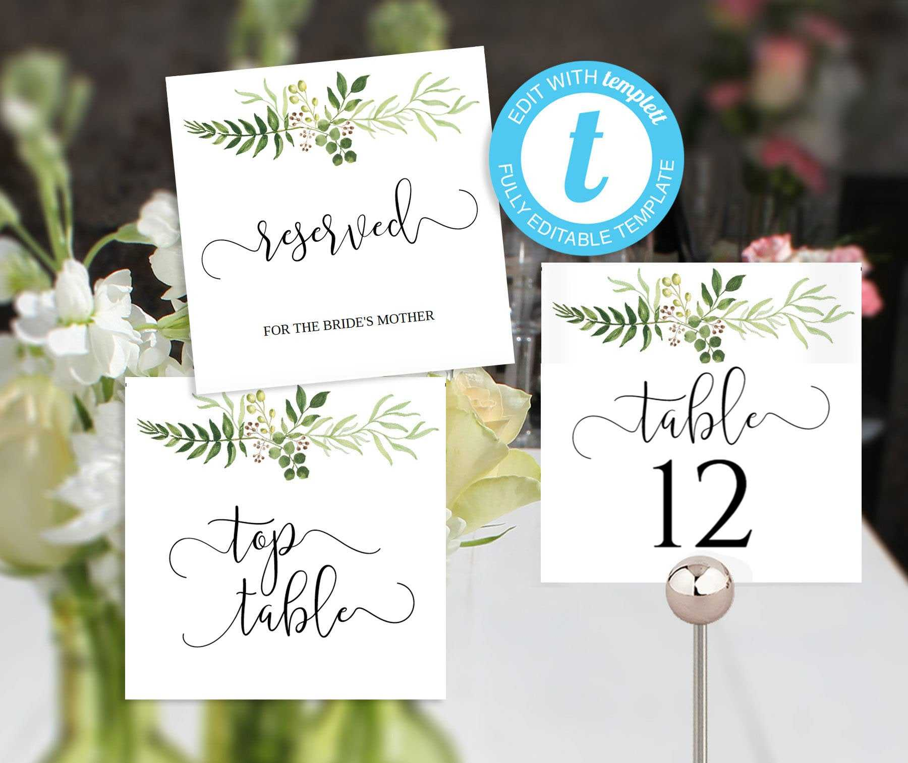Greenery Wedding Table Numbers, Printable 5X5 Tentfold Templates, Reserved  Table And Top Table Signs   Woodland Rustic Wedding Ideas Within Reserved Cards For Tables Templates
