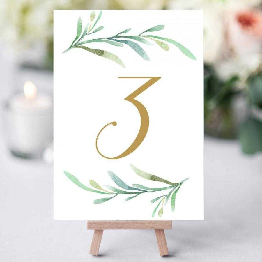 Greenery Wedding Table Numbers Template, Printable Reception With Table Number Cards Template