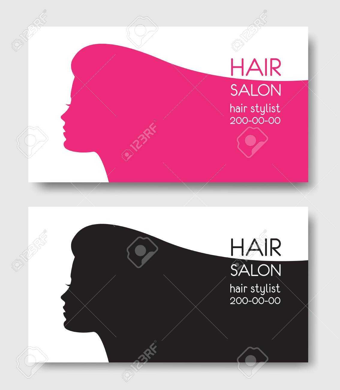 Hair Salon Business Card Templates With Beautiful Woman Face Sil For Hair Salon Business Card Template