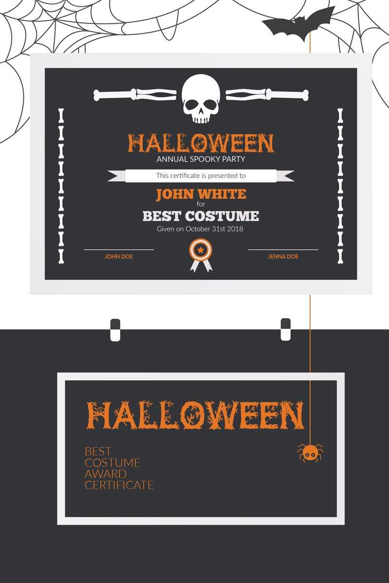 Halloween Best Costume Award Certificate Template In Halloween Certificate Template