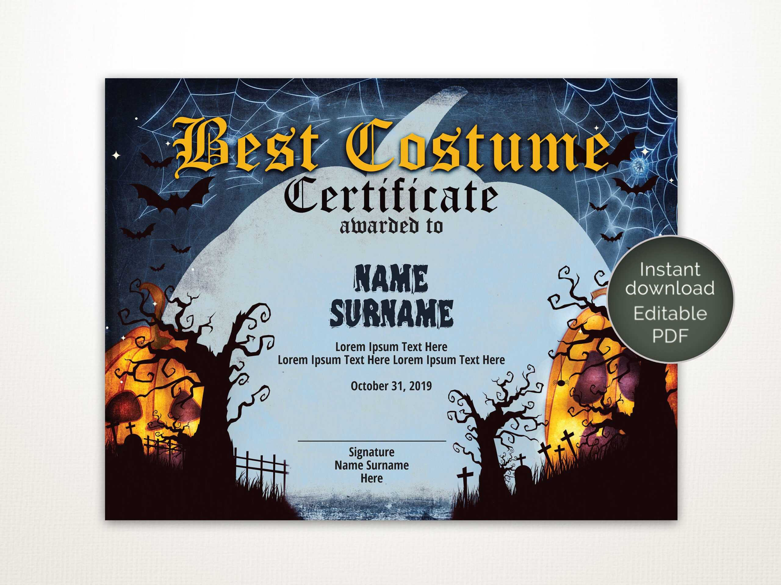 Halloween Best Costume Certificate Editable Template Costume Award  Printable Certificate Template Instant Download Regarding Halloween Costume Certificate Template