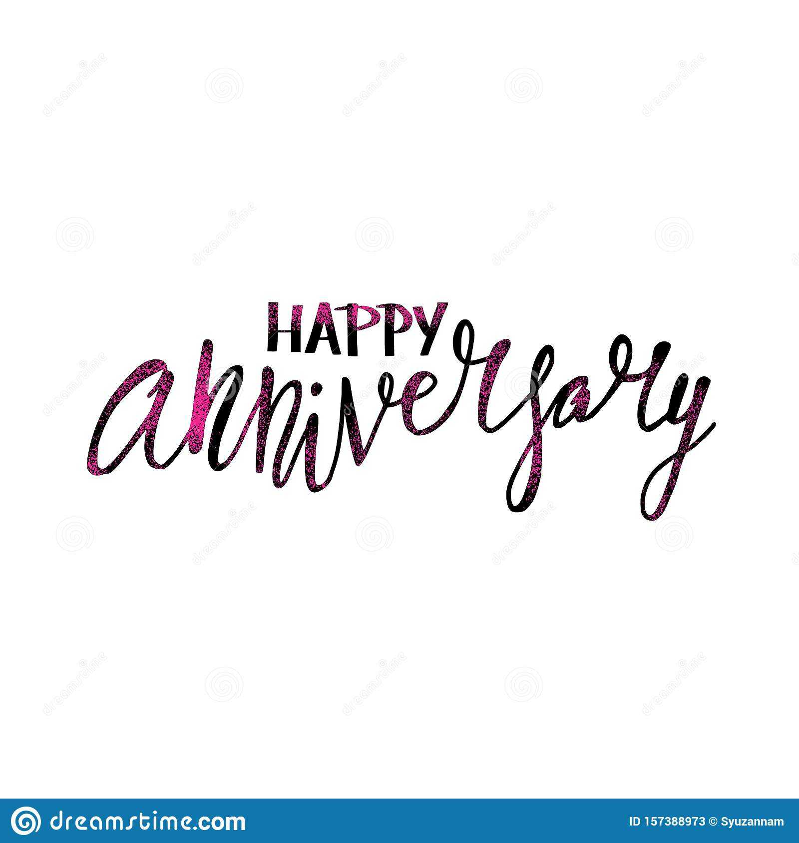 Happy Anniversary Text. Vector Word With Decor Stock Vector Inside Anniversary Card Template Word