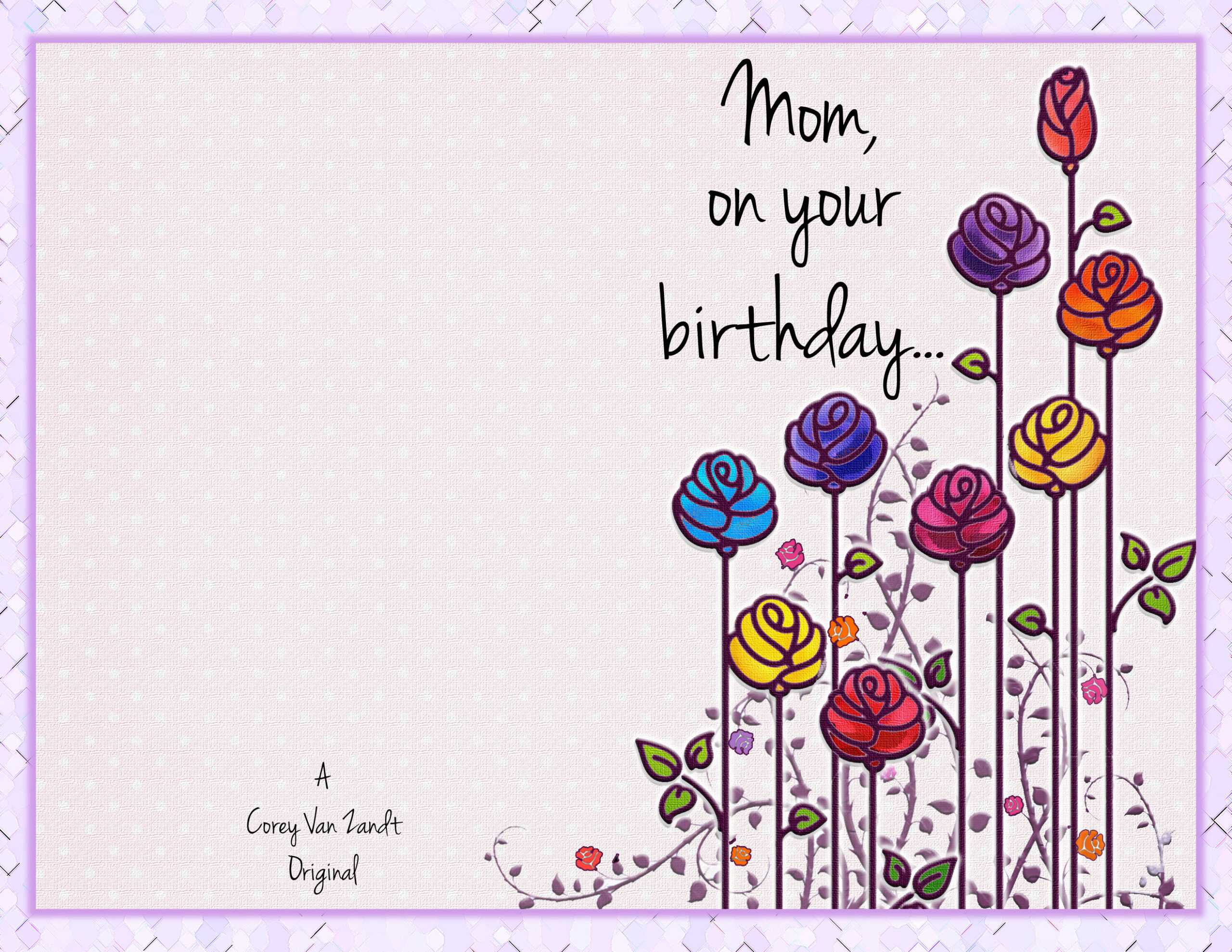 Happy Birthday Card – Corey Van Zandt With Regard To Mom Birthday Card Template