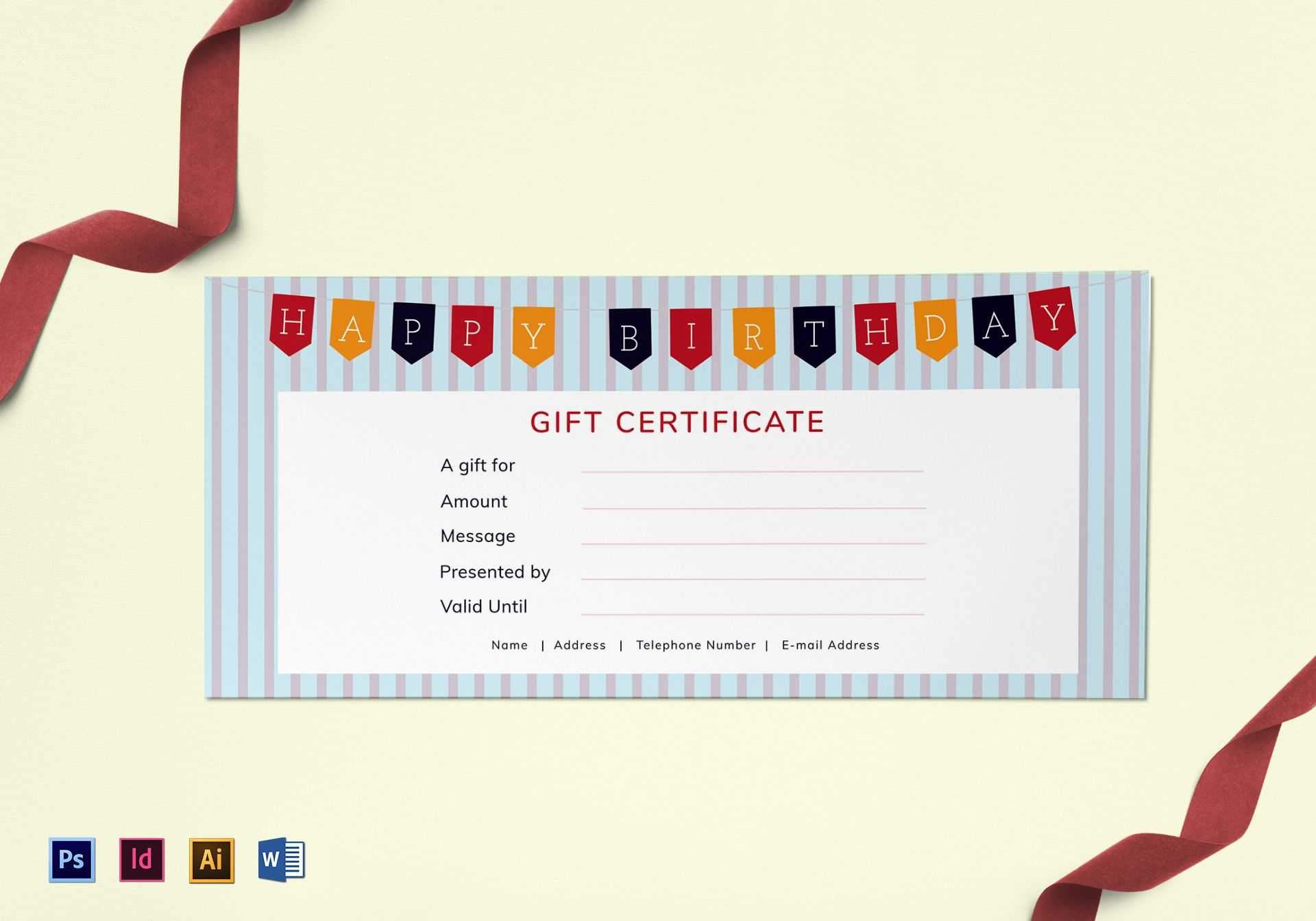 Happy Birthday Gift Certificate Template In Gift Certificate Template Photoshop