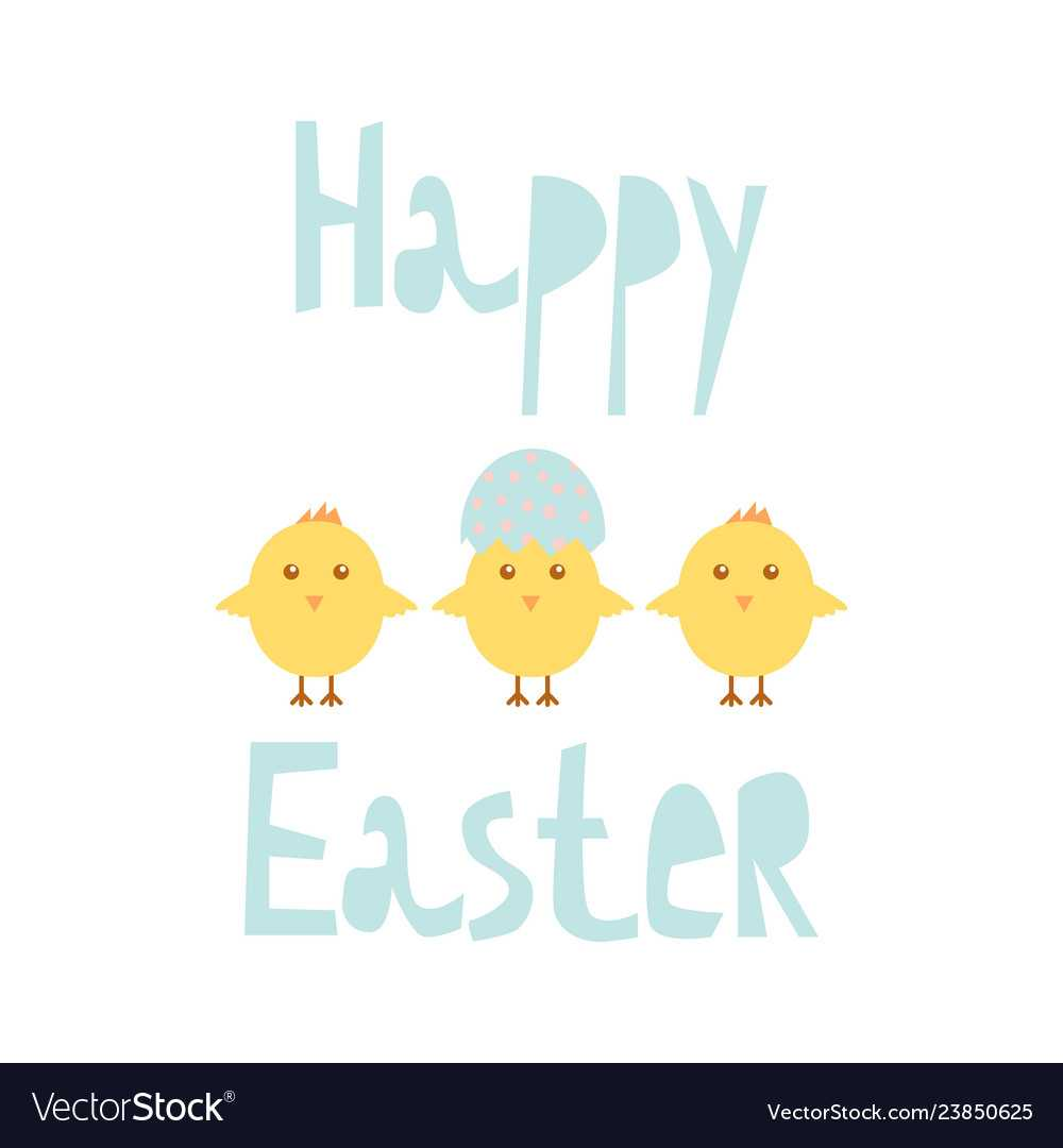 Happy Easter Greeting Card Template With Chicks With Easter Chick Card Template
