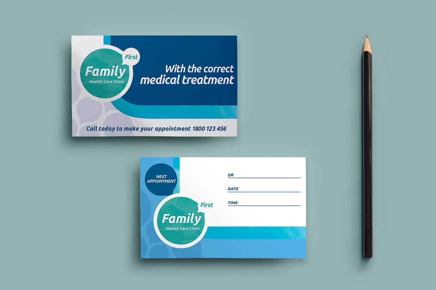 Healthcare Clinic Appointment Card Template In Psd, Ai For Dentist Appointment Card Template