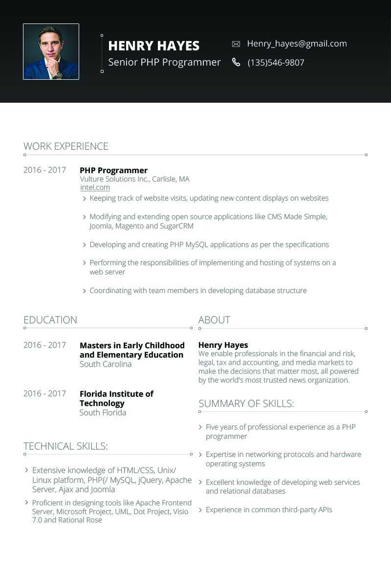 Henry Hayes – Web Developer Resume Template #64898 With Regard To Hayes Certificate Templates