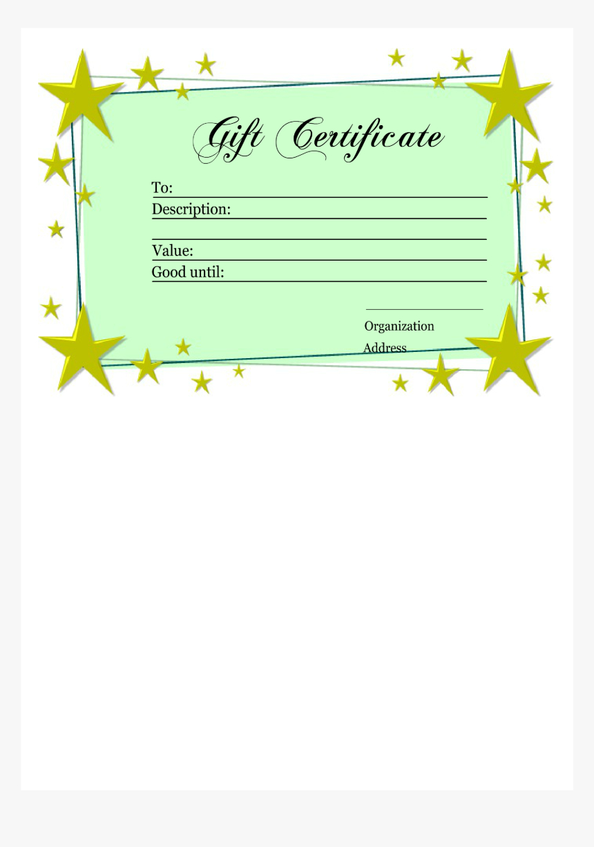 Homemade Gift Certificate Template Main Image - Printable Regarding Homemade Gift Certificate Template