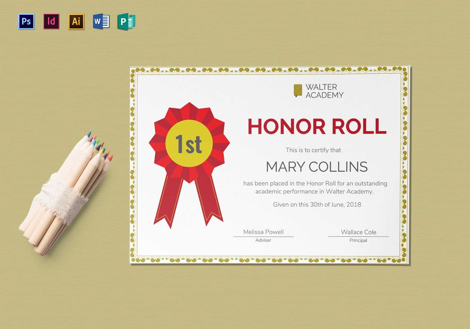 Honor Roll Certificate Template Regarding Honor Roll Certificate Template