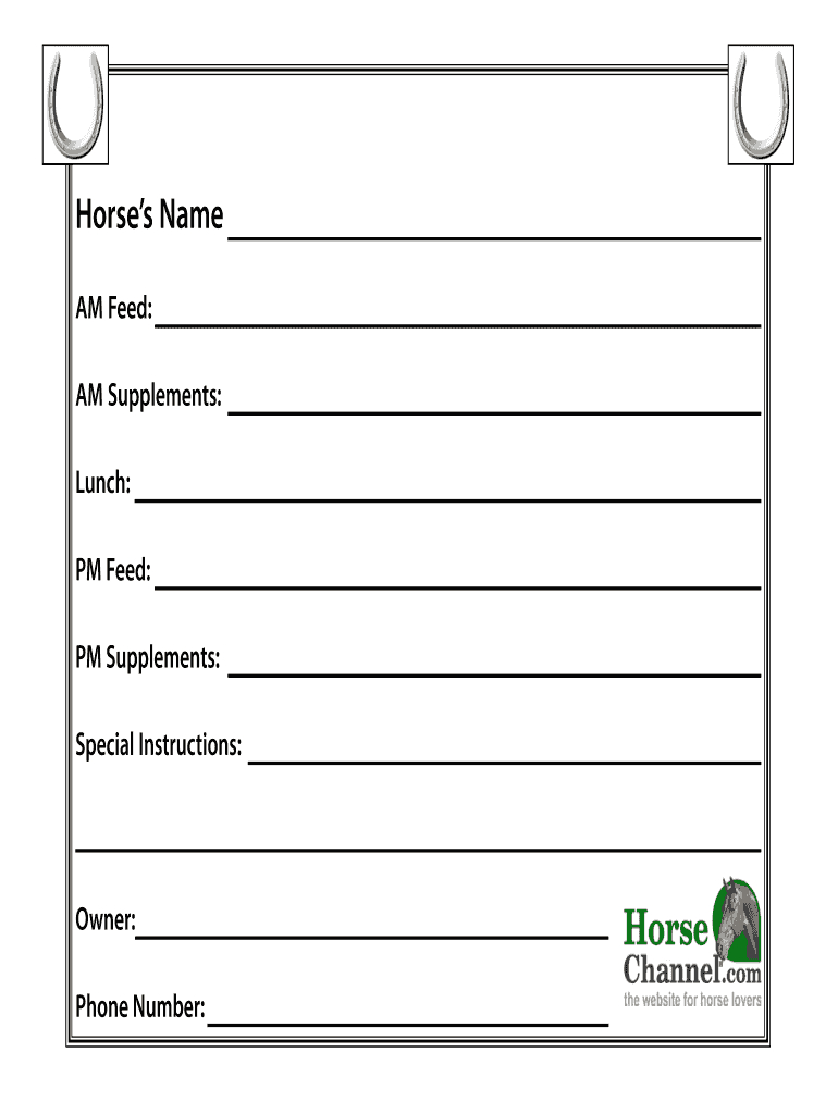 Horse Stall Card Template - Fill Online, Printable, Fillable Regarding Horse Stall Card Template