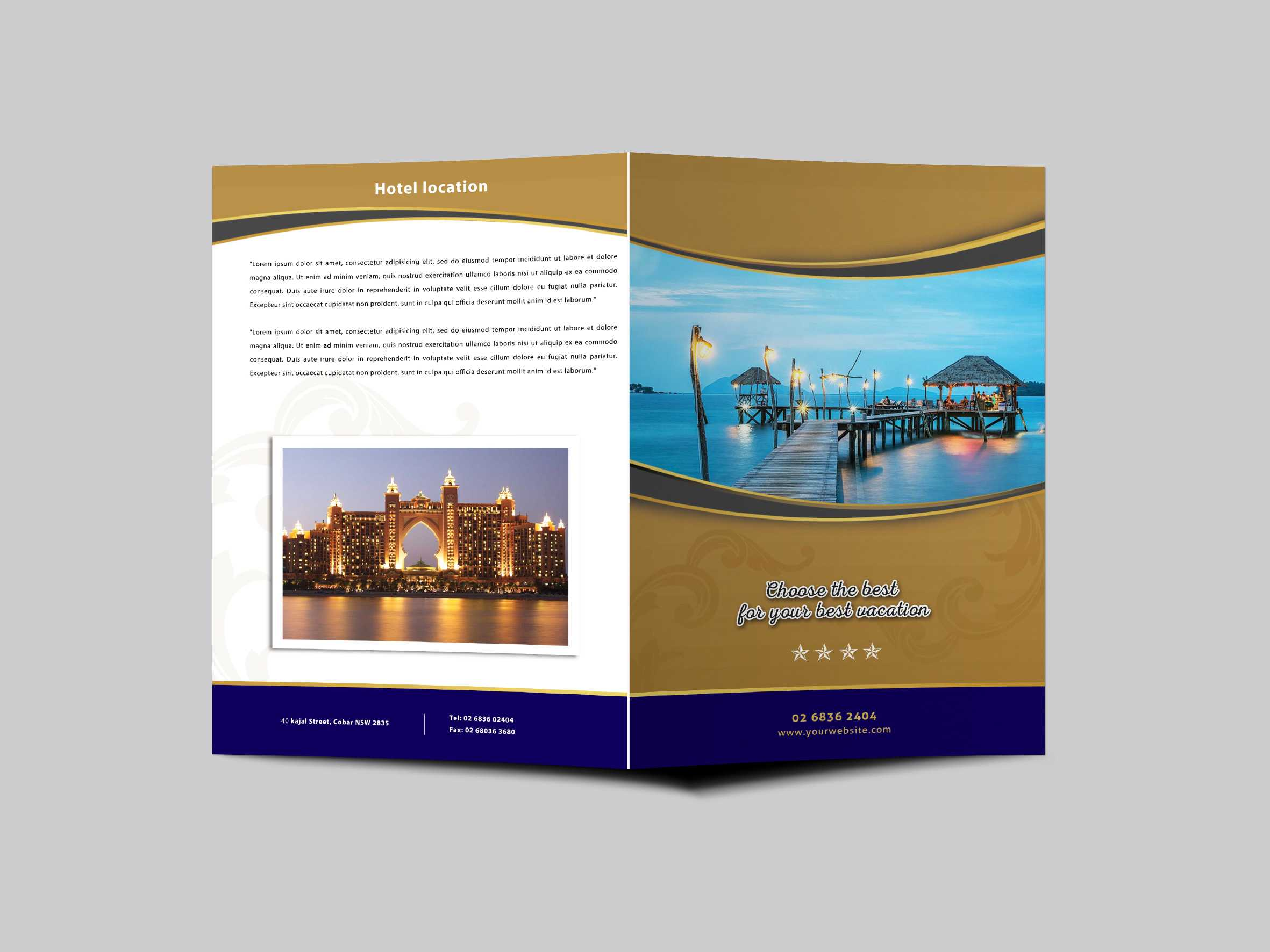 Hotel Resort Bi Fold Brochure Design Templatearun Kumar Regarding Hotel Brochure Design Templates