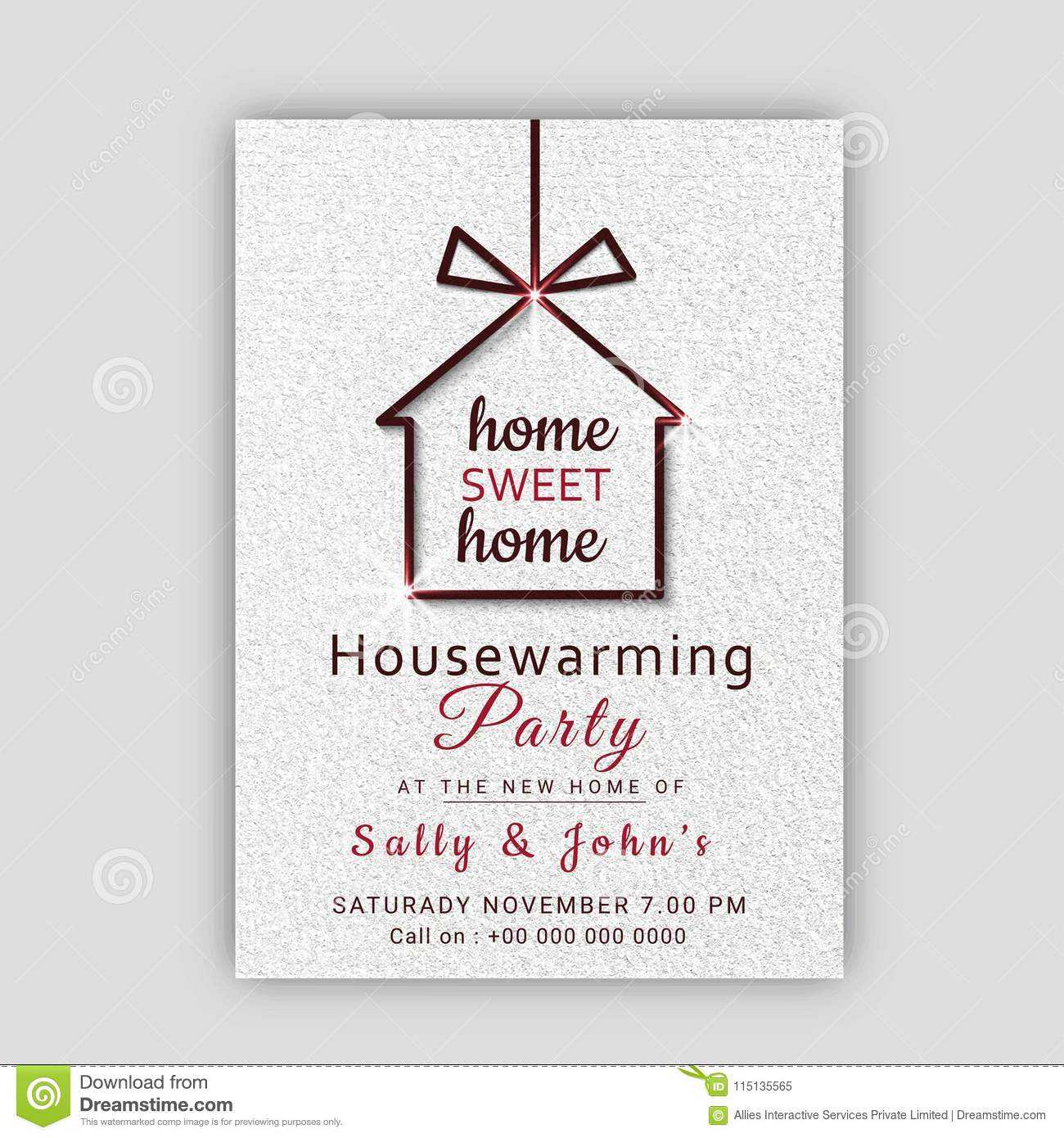 Housewarming Party Invitation Card Design. Stock With Free Housewarming Invitation Card Template