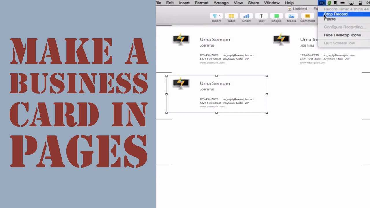 How To Create A Business Card In Pages For Mac (2014) For Business Card Template Pages Mac