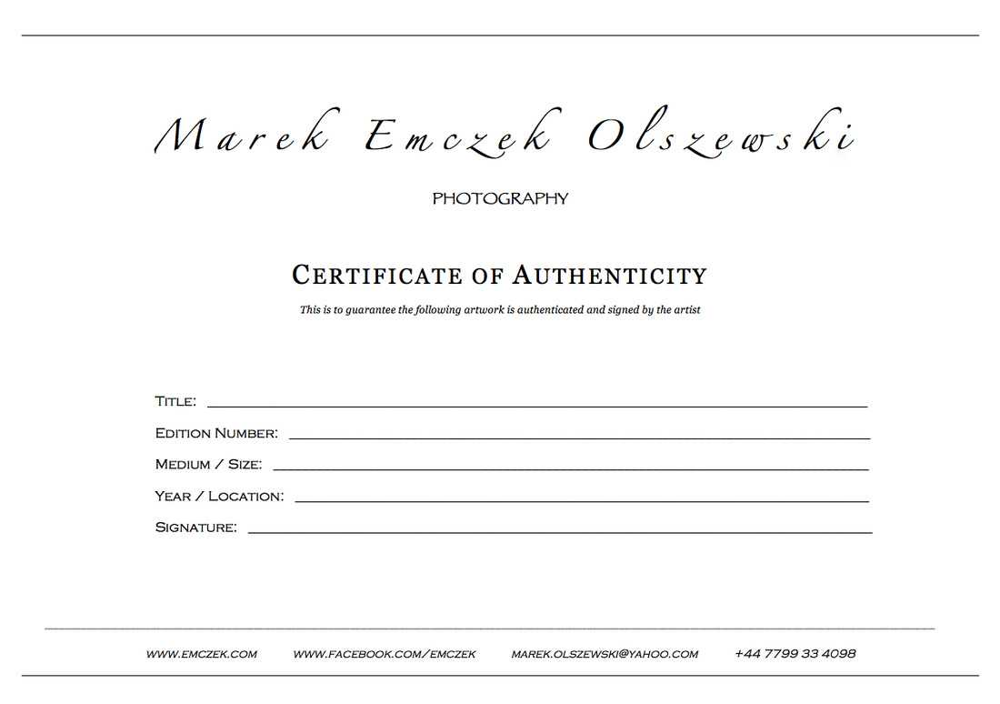 How To Create A Certificate Of Authenticity For Your Photography With Photography Certificate Of Authenticity Template