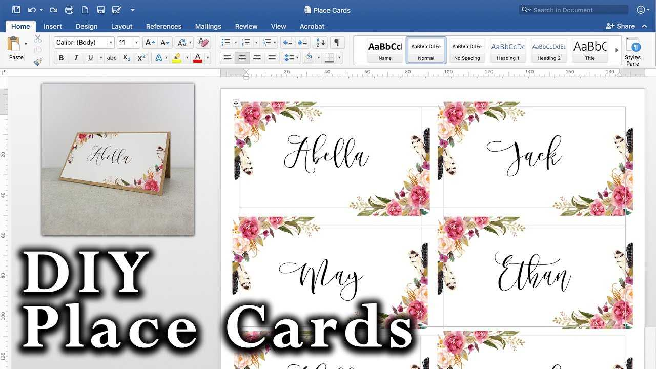 How To Create Place Cards In Word - Karan.ald2014 In Ms Word Place Card Template