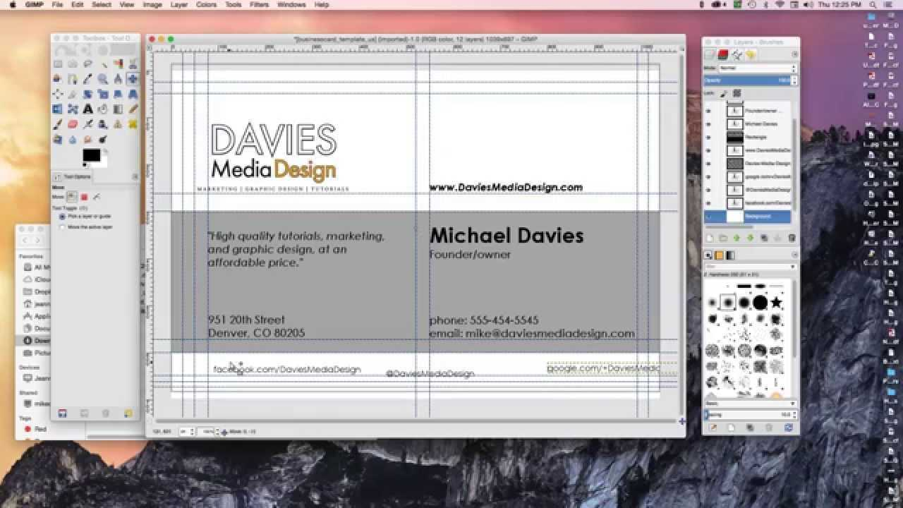 How To Make A Business Card In Gimp 2.8 In Gimp Business Card Template