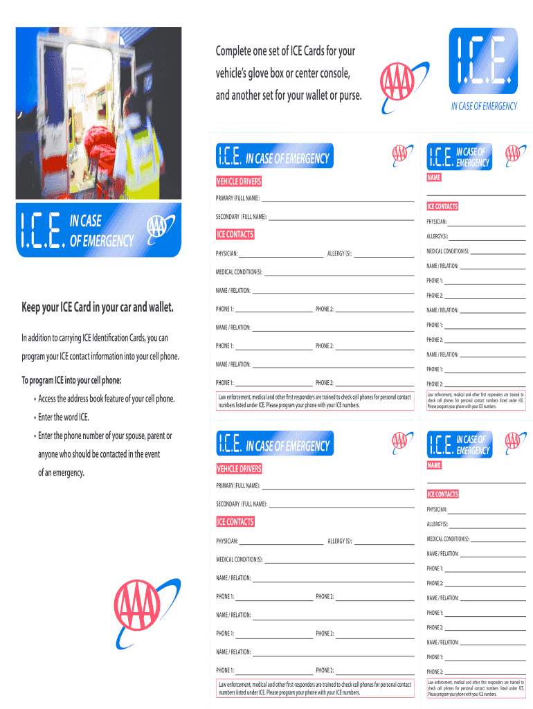 Ice Cards - Fill Online, Printable, Fillable, Blank | Pdffiller Intended For In Case Of Emergency Card Template
