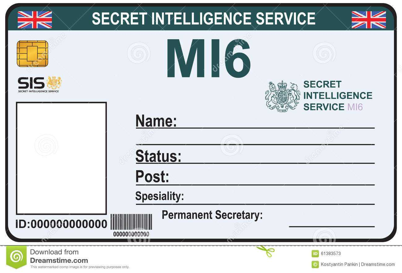Identity A Secret Agent Of Mi 6 Stock Vector - Illustration Within Mi6 Id Card Template