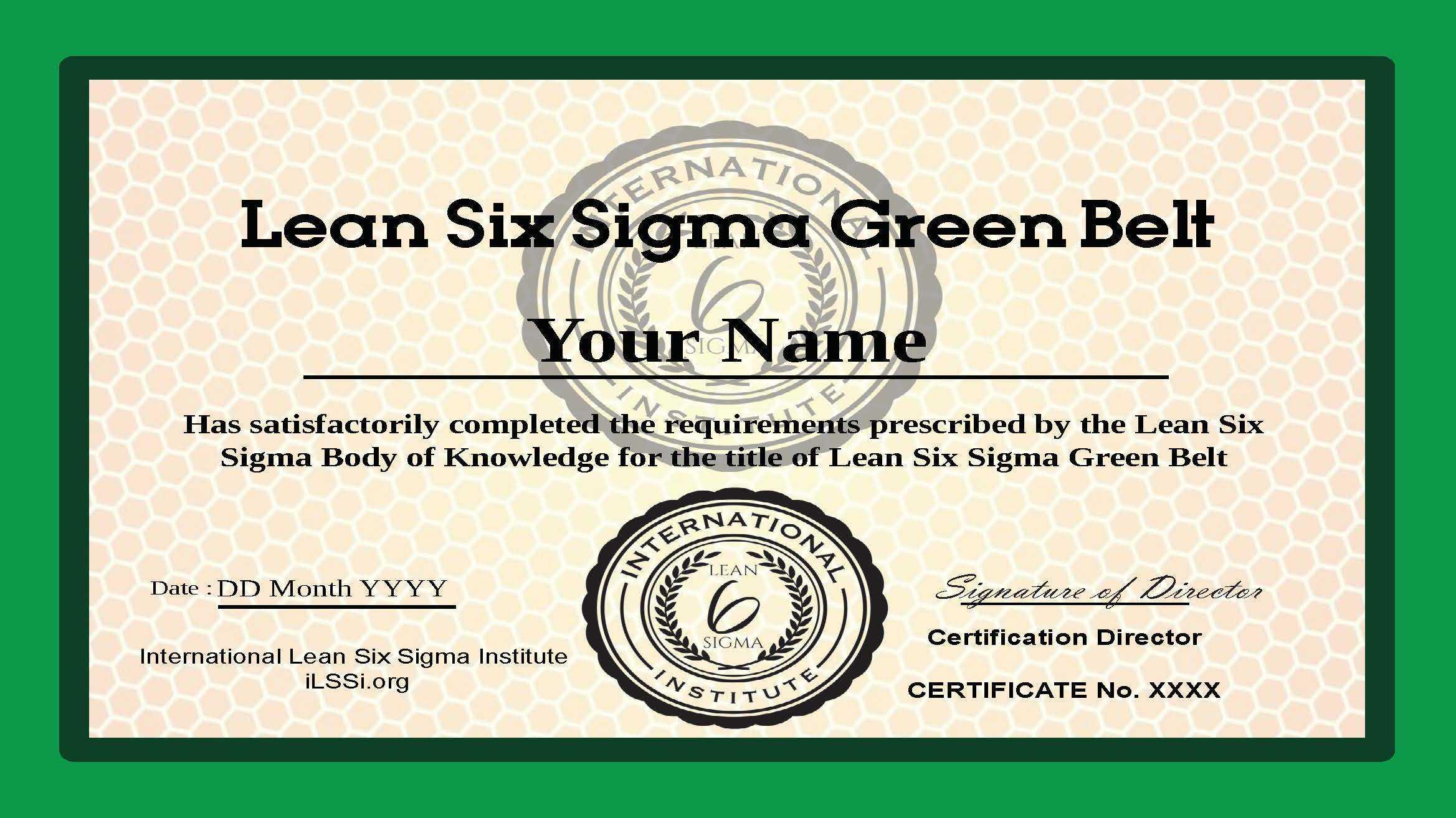 Ilssi Green Belt Oct 2019 Template With Regard To Green Belt Certificate Template
