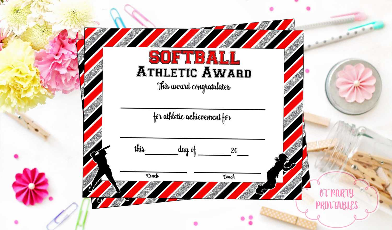 Instant Download - Softball Certificate Of Achievement - Softball Award -  Print At Home - Softball Certificate Of Completion - Sports Award Pertaining To Softball Certificate Templates