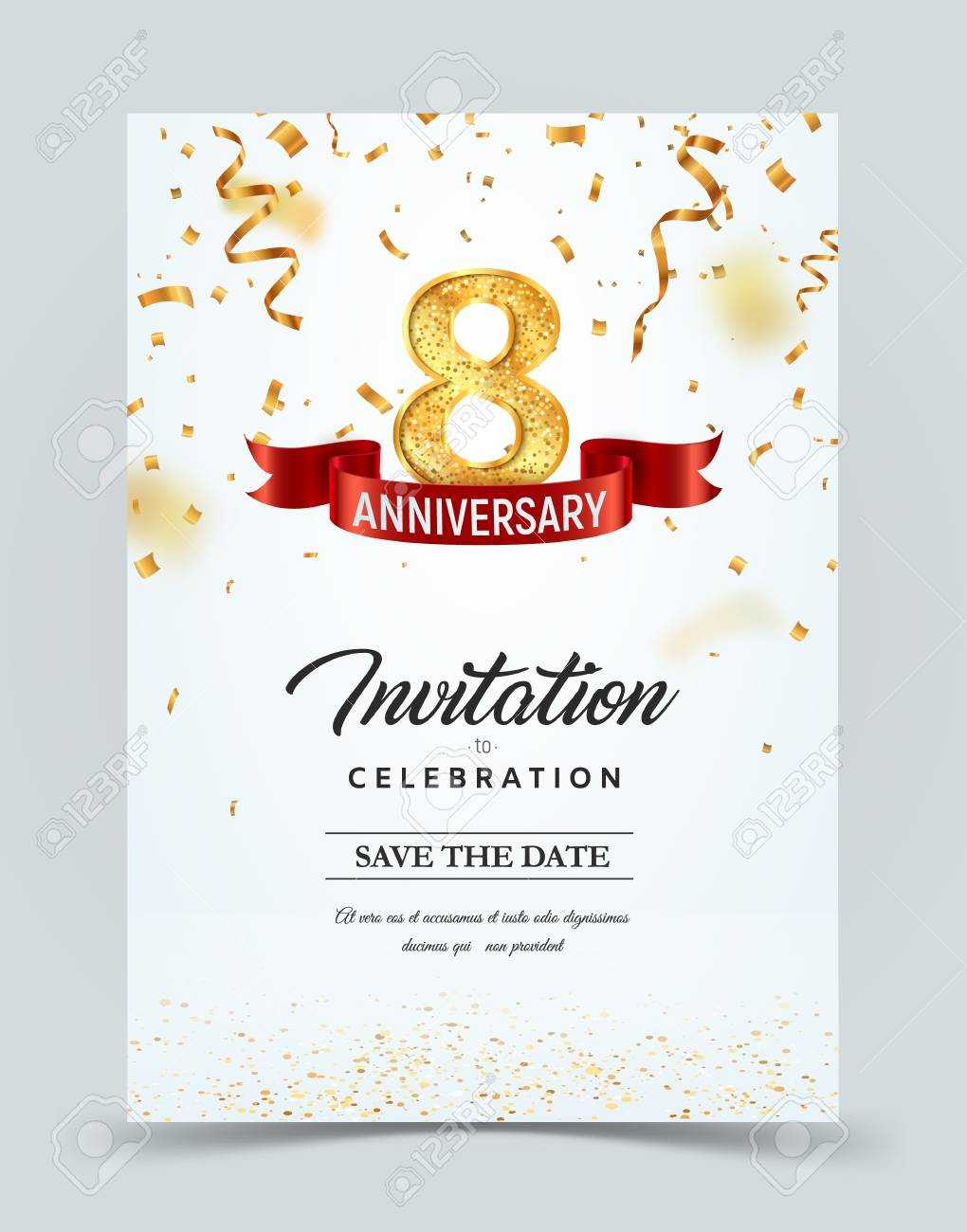 Invitation Card Template Of 8 Years Anniversary With Abstract.. Inside Template For Anniversary Card