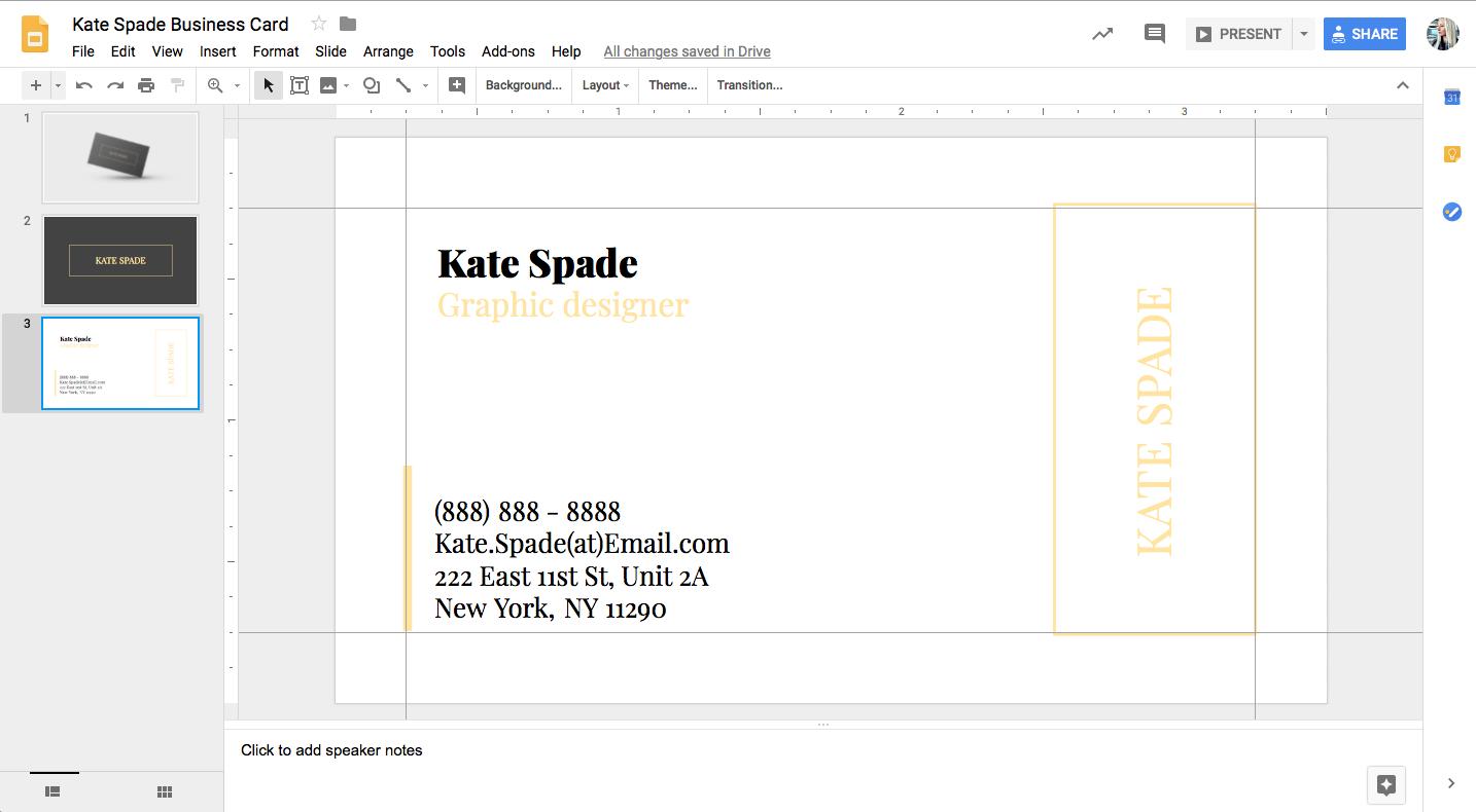 Kate Spade Business Card Template For Google Docs - Stand Inside Business Card Template For Google Docs