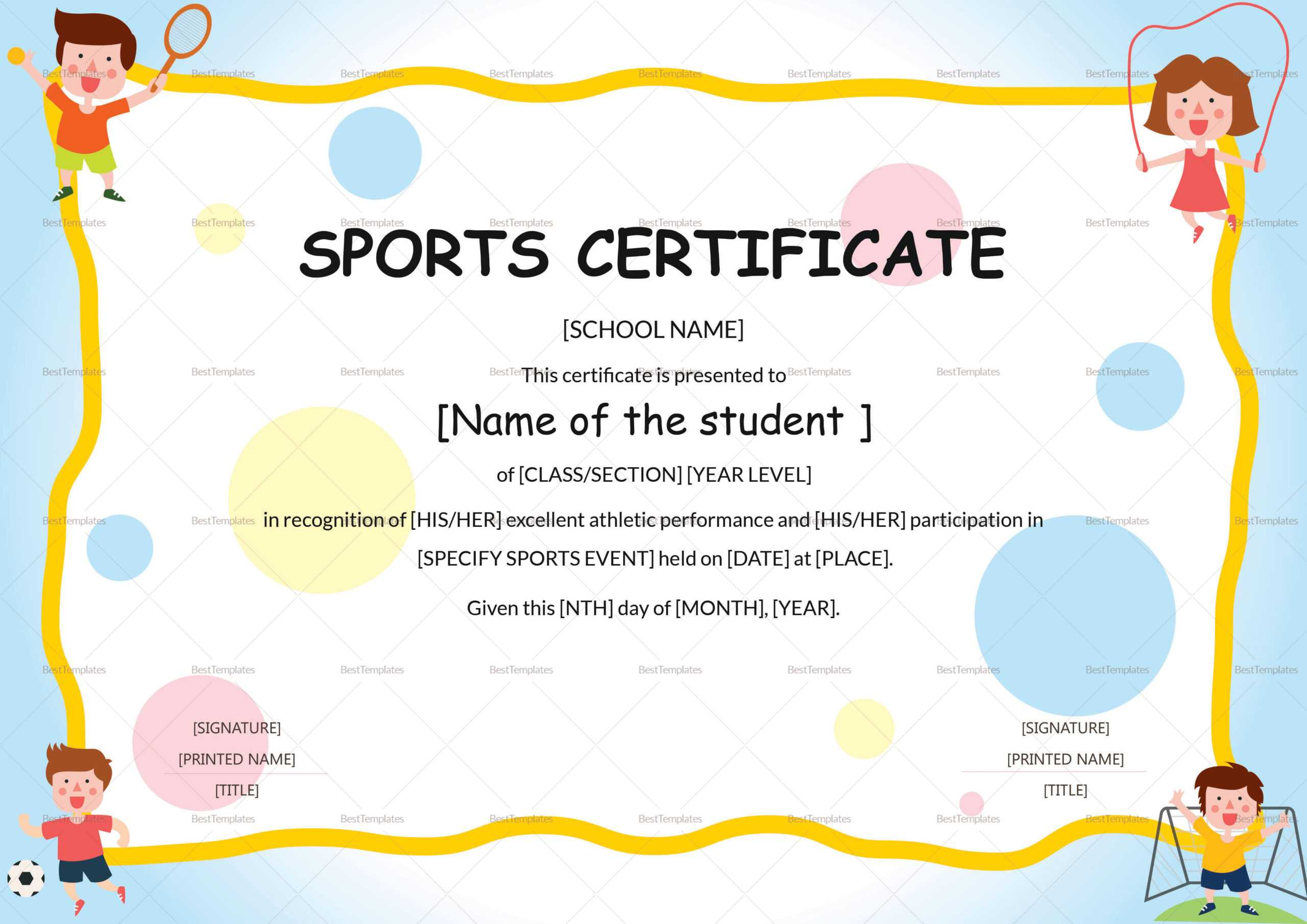 Kids Sports Participation Certificate Template Within Athletic Certificate Template