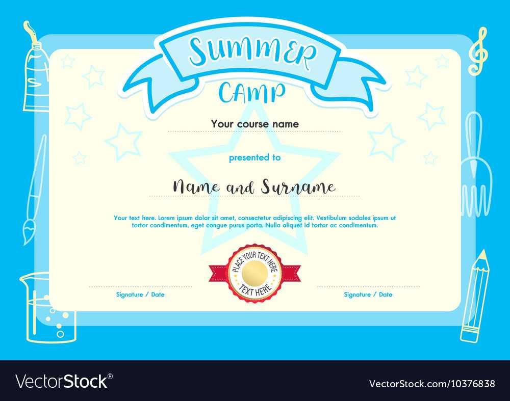Kids Summer Camp Document Certificate Template Throughout Summer Camp Certificate Template