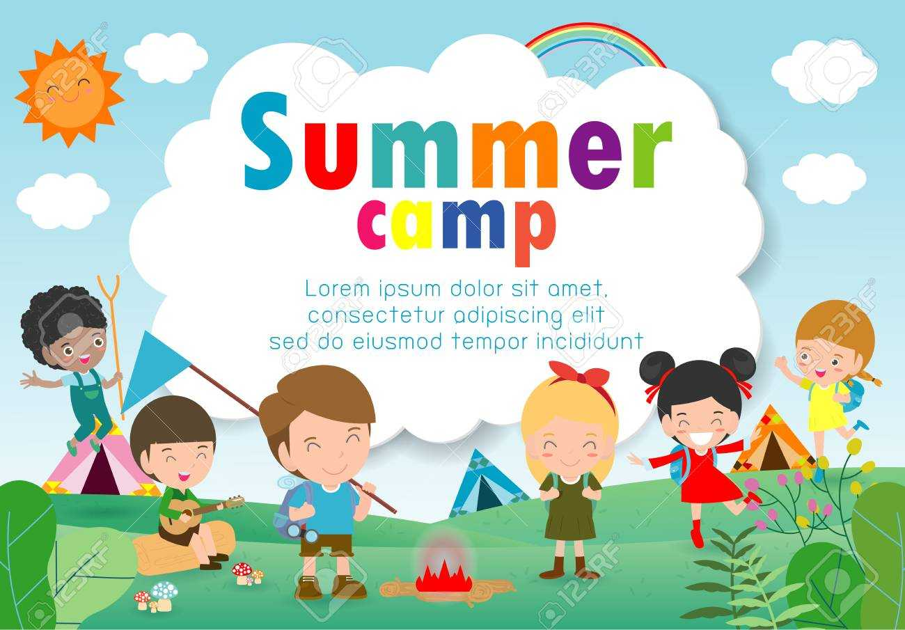 Kids Summer Camp Education Template For Advertising Brochure,.. Pertaining To Summer Camp Brochure Template Free Download