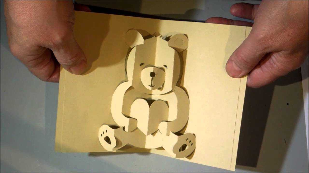 Kirigami Bear Pop Up Card With Teddy Bear Pop Up Card Template Free