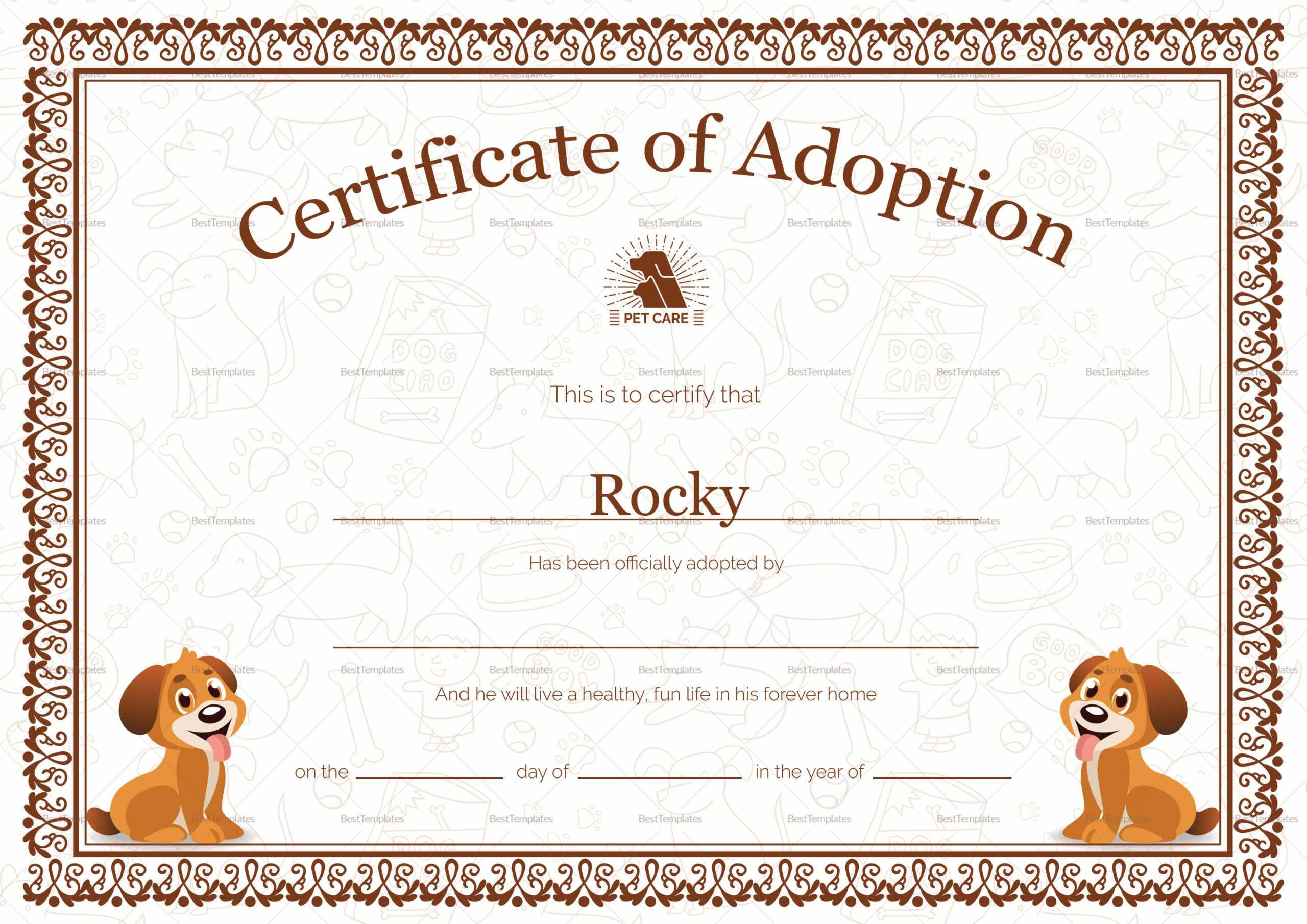 Kitten Adoption Certificate With Pet Adoption Certificate Template