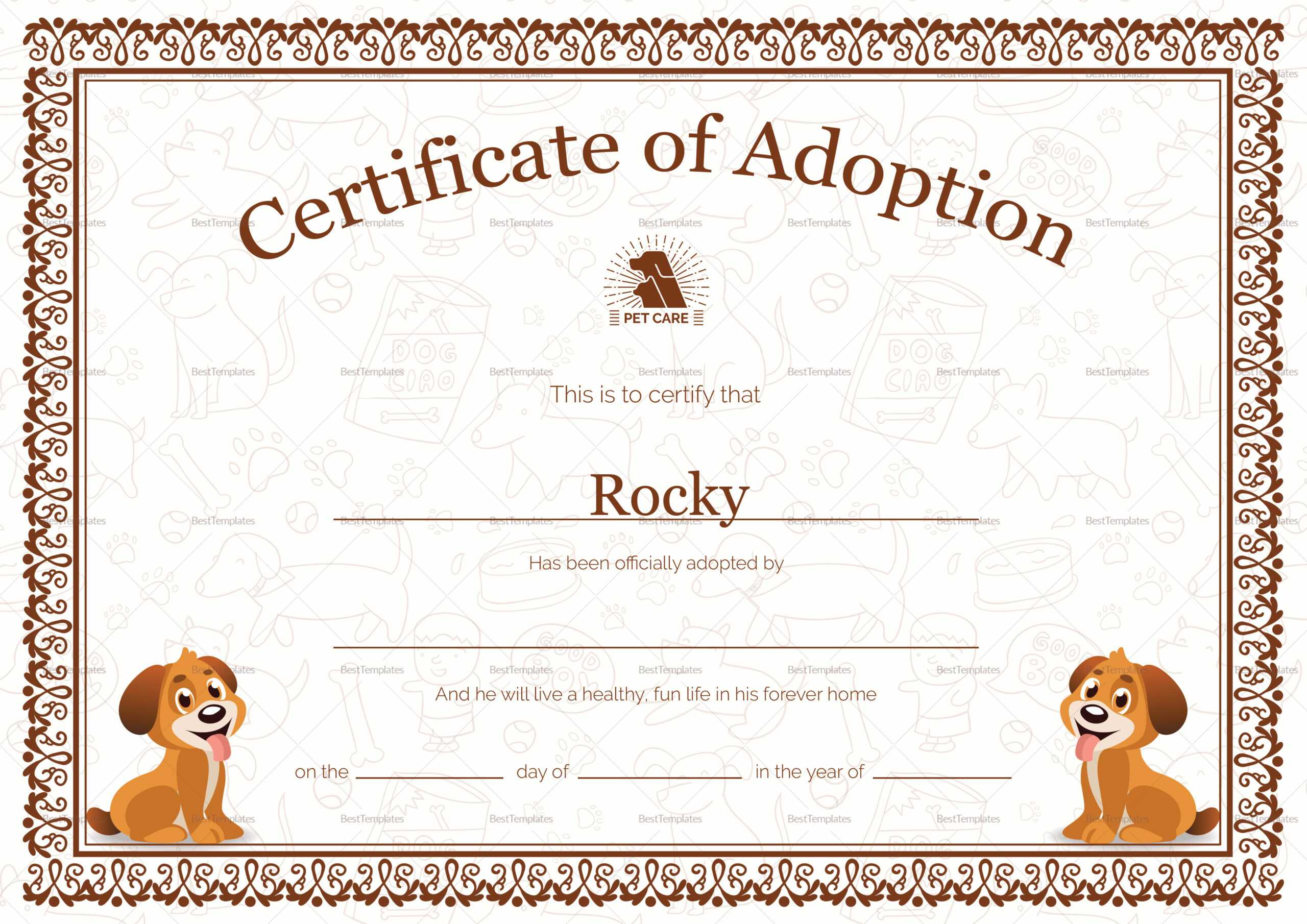 Kitten Adoption Certificate Within Toy Adoption Certificate Template