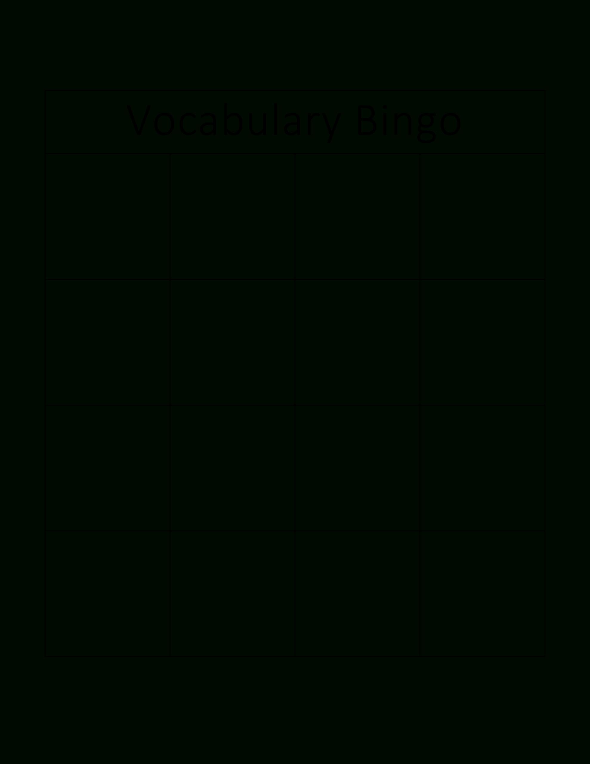 Kostenloses Vocabulary Bingo Card In Blank Bingo Card Template Microsoft Word