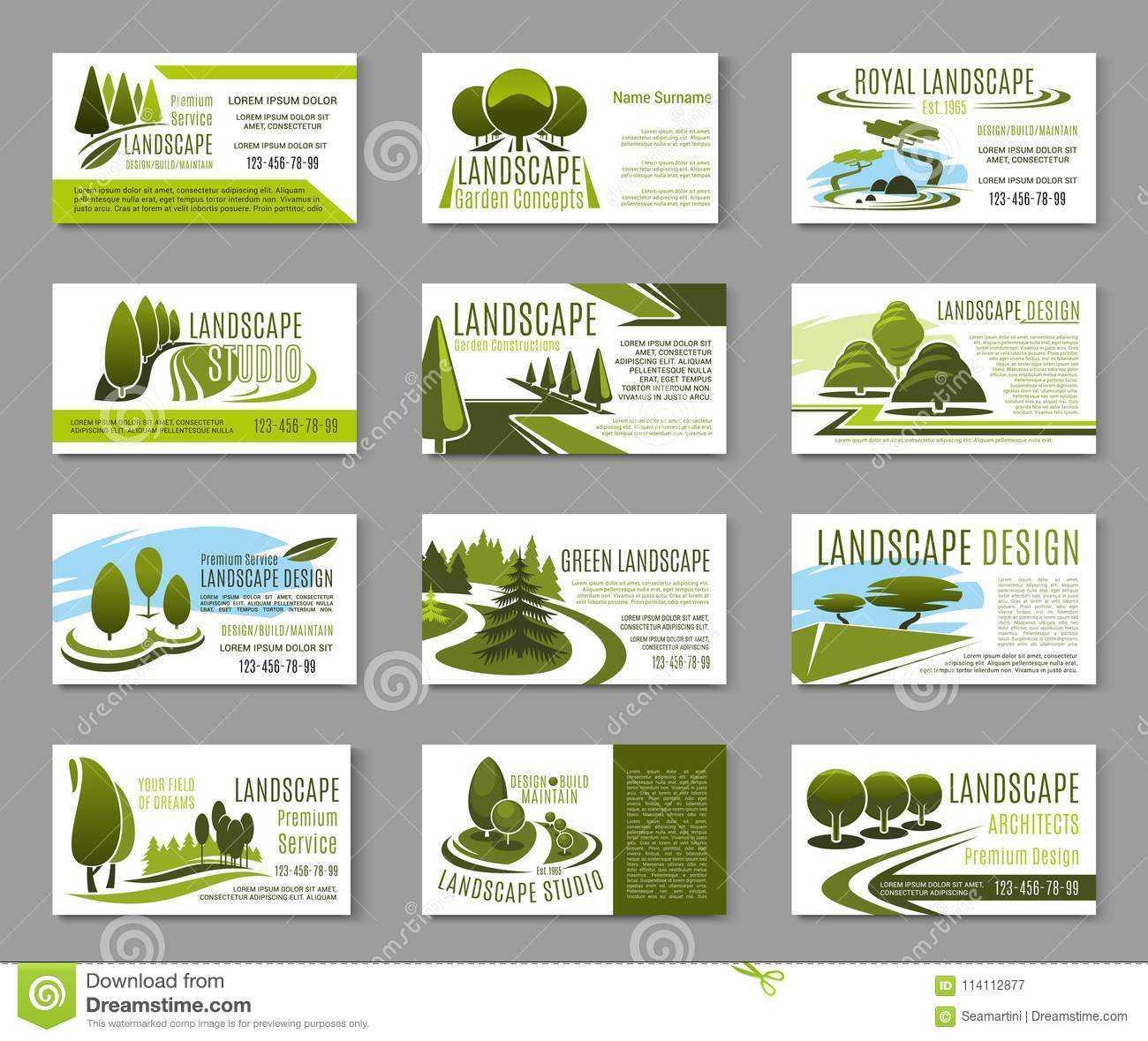 Landscape Design Studio Business Card Template Stock Vector Regarding Lawn Care Business Cards Templates Free