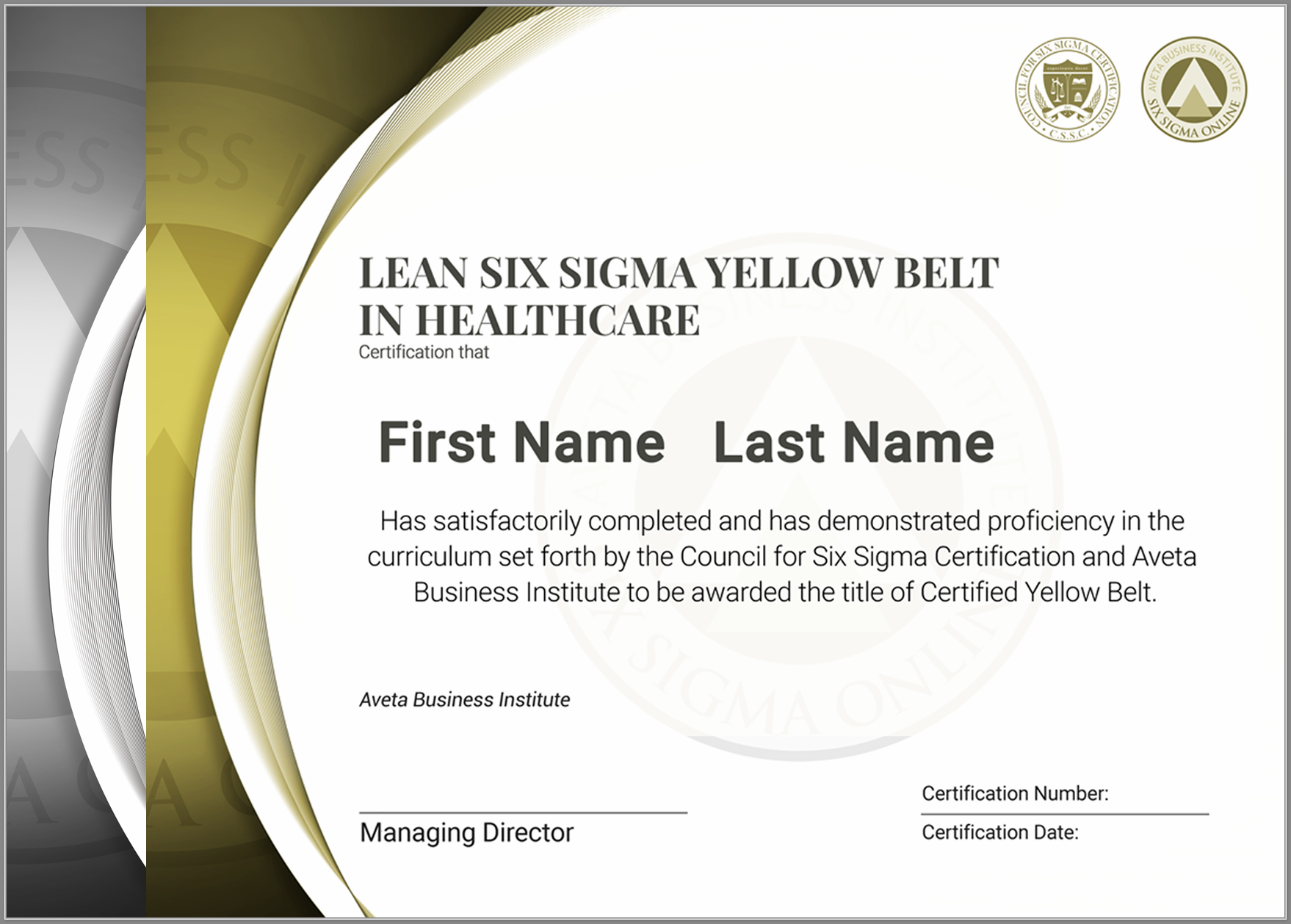 Lean Six Sigma Yellow Belt Certification In Healthcare With Green Belt Certificate Template