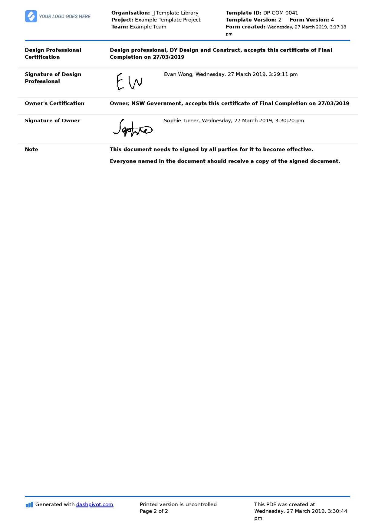 Letter Of Completion Of Work Sample (Use Or Copy For Yourself) With Regard To Practical Completion Certificate Template Uk
