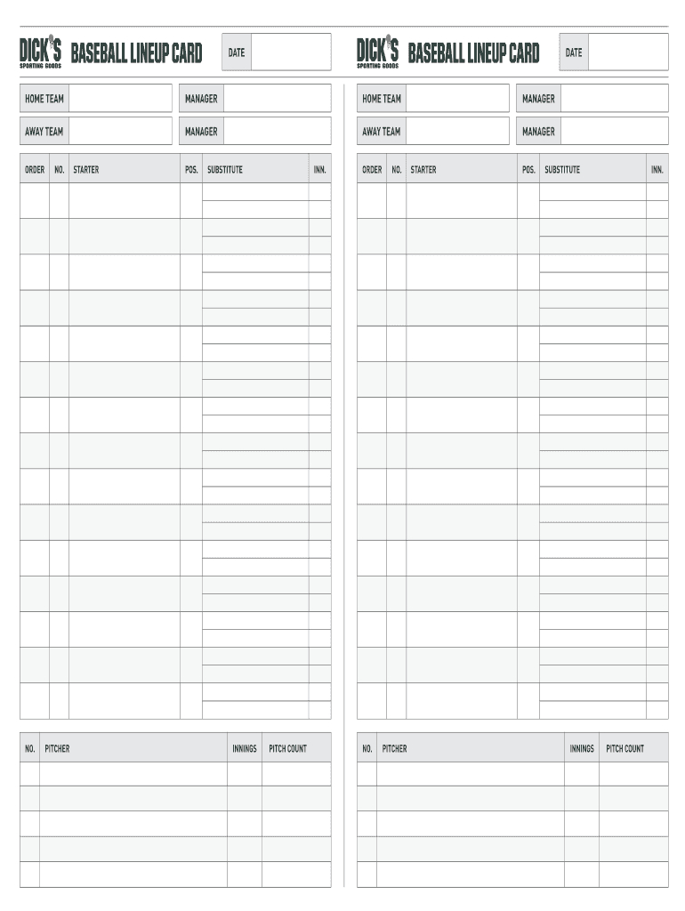 Lienup Card Fillable - Fill Online, Printable, Fillable Pertaining To Free Baseball Lineup Card Template