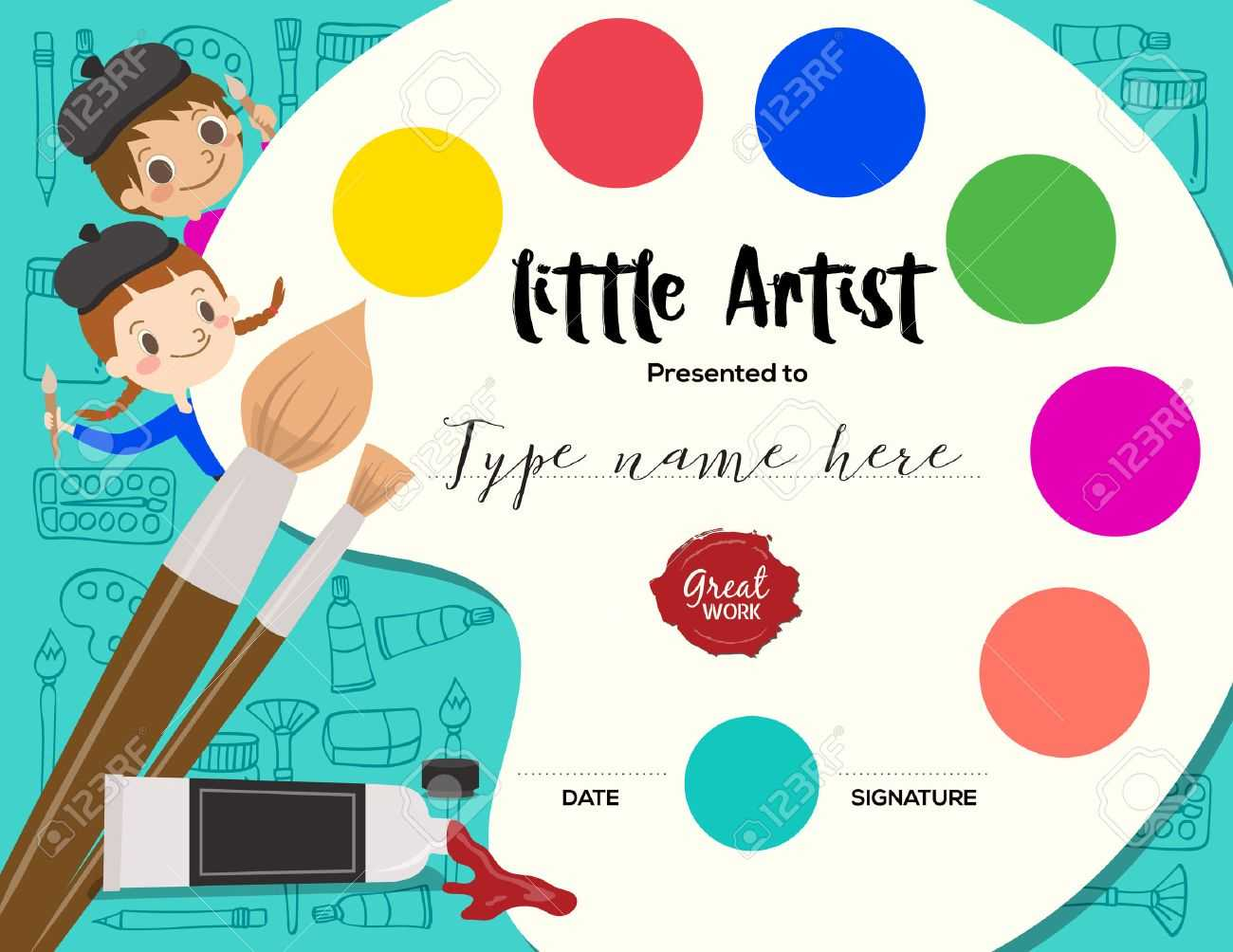 Little Artist, Kids Diploma Child Painting Course Certificate.. With Regard To Art Certificate Template Free