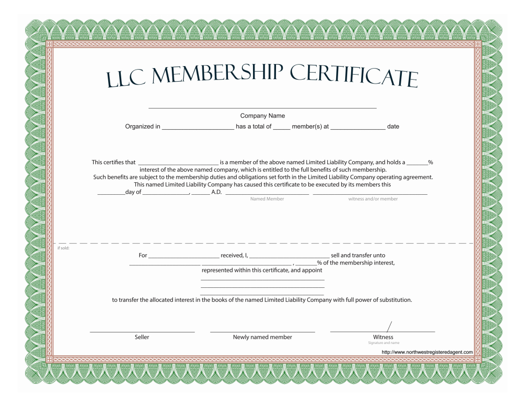 Llc Membership Certificate - Free Template Inside This Certificate Entitles The Bearer To Template