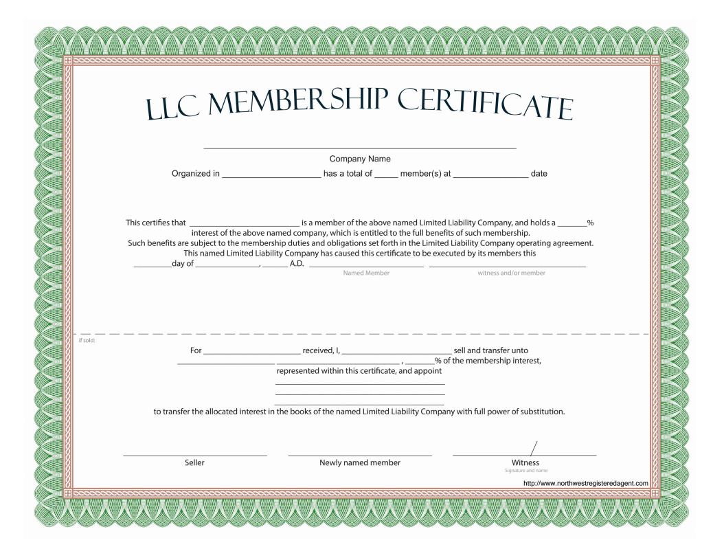 Llc Membership Certificate - Free Template Intended For Certificate Of Ownership Template