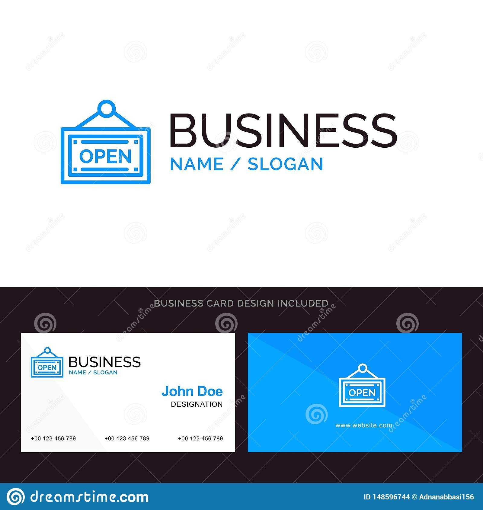 Logo And Business Card Template For Open, Shop, Board Vector For Business Card Template Open Office